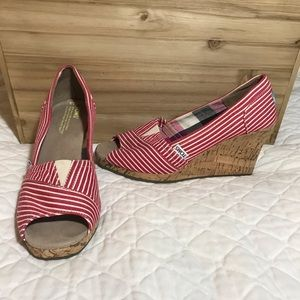 Toms Red & White Striped Wedges Size 7.5